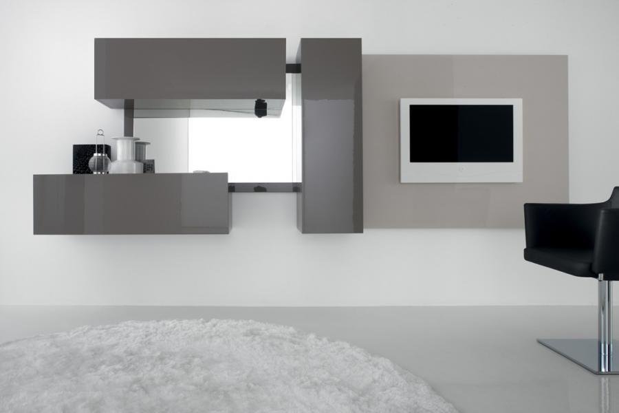 Современная модульная стенка в гостиной в стиле минимализм
