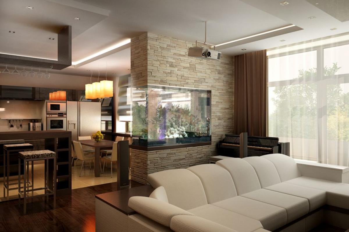 Зонирование кухни- гостиной с помощью аквариума