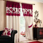 awesome black buffet and bronze table lamp feat trendy red white living room curtain plus leather sofa design 1