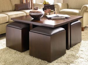 awesome-coffee-table-with-ottomans-underneath-creamy-white-living-room-sofa-area-rug-wooden-side-table