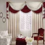 awesome living room curtain designs 2015 white red fabric vertical curtain white red fabric window valance white flower arm sofa brown lacquered wood arm sofa chair 3