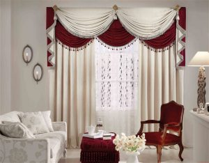 awesome-living-room-curtain-designs-2015_white-red-fabric-vertical-curtain_white-red-fabric-window-valance_white-flower-arm-sofa_brown-lacquered-wood-arm-sofa-chair