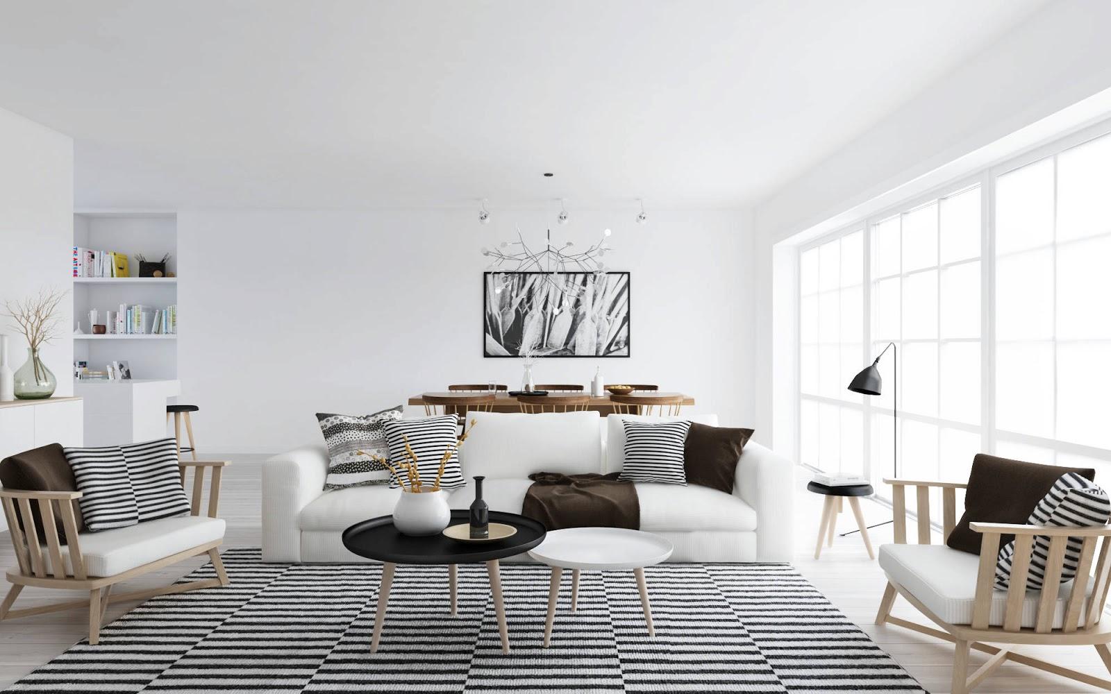Скандинавский минимализм в гостиной
