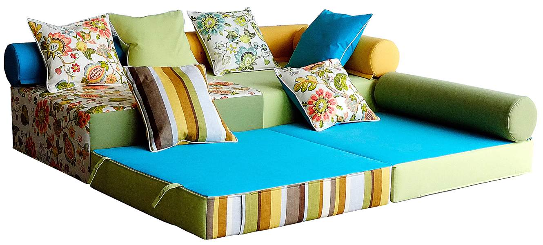 Бескаркасный модульный диван для гостиной со спальным местом