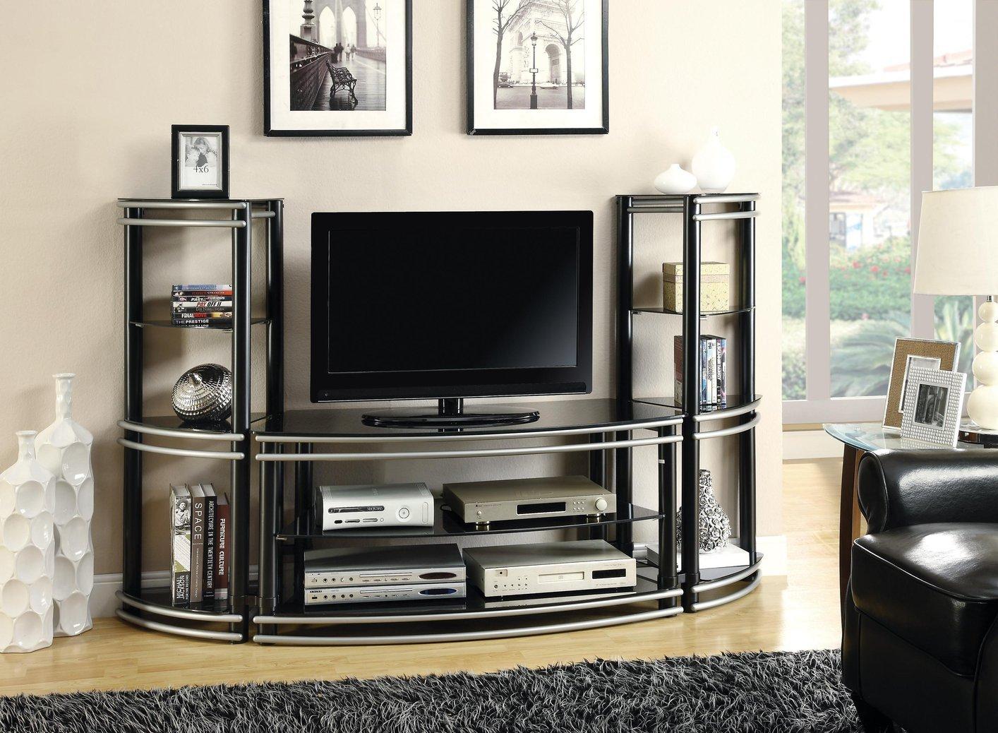 Тумба по телевизор из металла и стекла