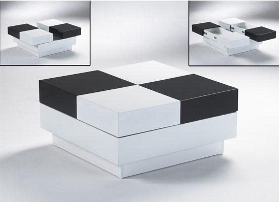 Черно - белый журнальный столик трансформер для гостиной