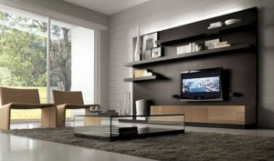 captivating-modular-furniture-coffee-tables-living-room-design-with-glass-coffee-table-on-gray-area-rug-and-two-beige-chair-plus-black-wall-shelves-also-tv-wall-unit-along-large-glass-window-as-well-a