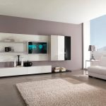 charming design ideas of home living room interior with white colored sofa and wall mount tv also cabinets and storage shelves also drawers and plush carpet as well as house interior designs and cont