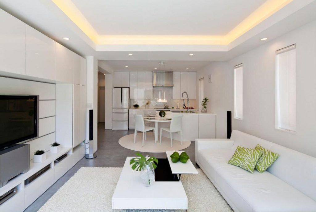 Фото маленькой кухни, совмещенной с гостиной в светлых тонах