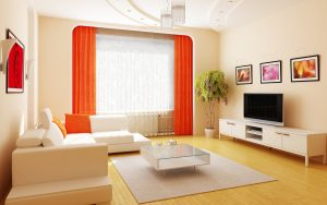 contemporary-curtains-for-living-room-modern-style-curtained-living-room-extremely-transparent-white-sheer-curtains-contrasted-orange-loose-curtains-rounded-rectangular-white-framed-curtain-wall-frame