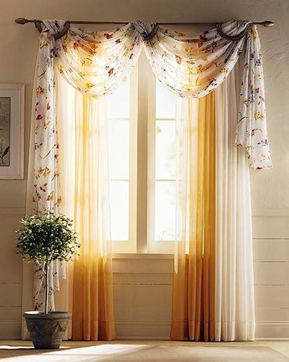 Легкие шторы в стиле арт - деко для гостиной