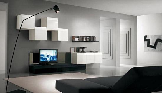 Стенка в гостиную в современном стиле в интерьере