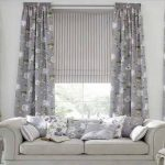 Living Room Curtain Ideas for Large Windows Flower Patterned Applied in Spacious Living Room Design Ideas