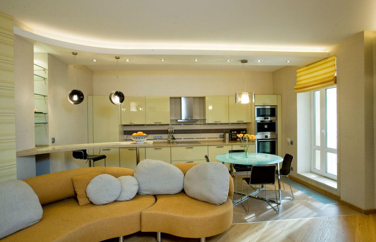 Разделение кухни и гостиной диваном
