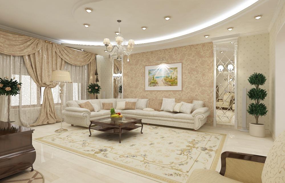 Интерьер светлой гостиной в классическом стиле