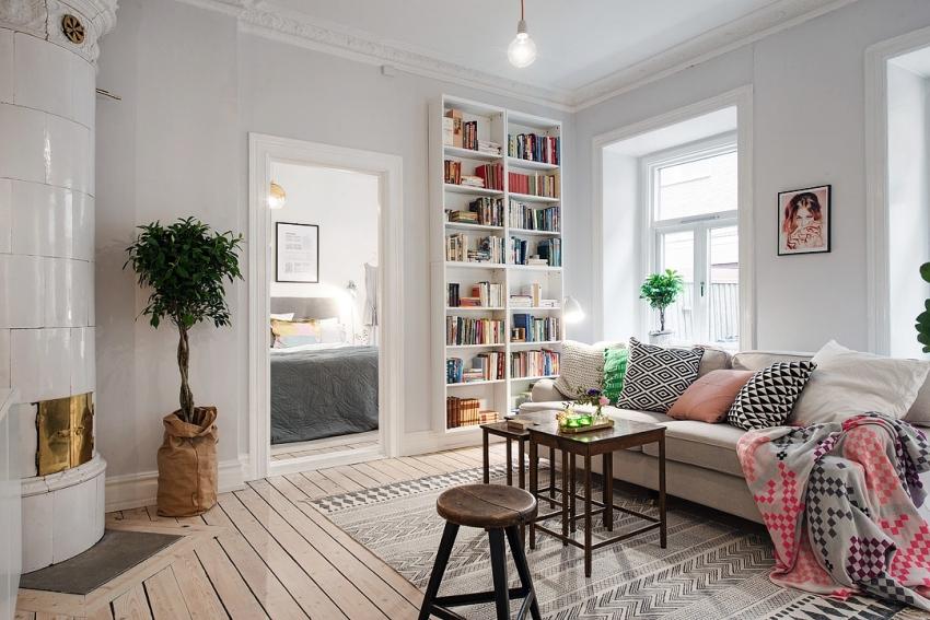 Дизайн гостиной в скандинавском эко стиле 18 кв м