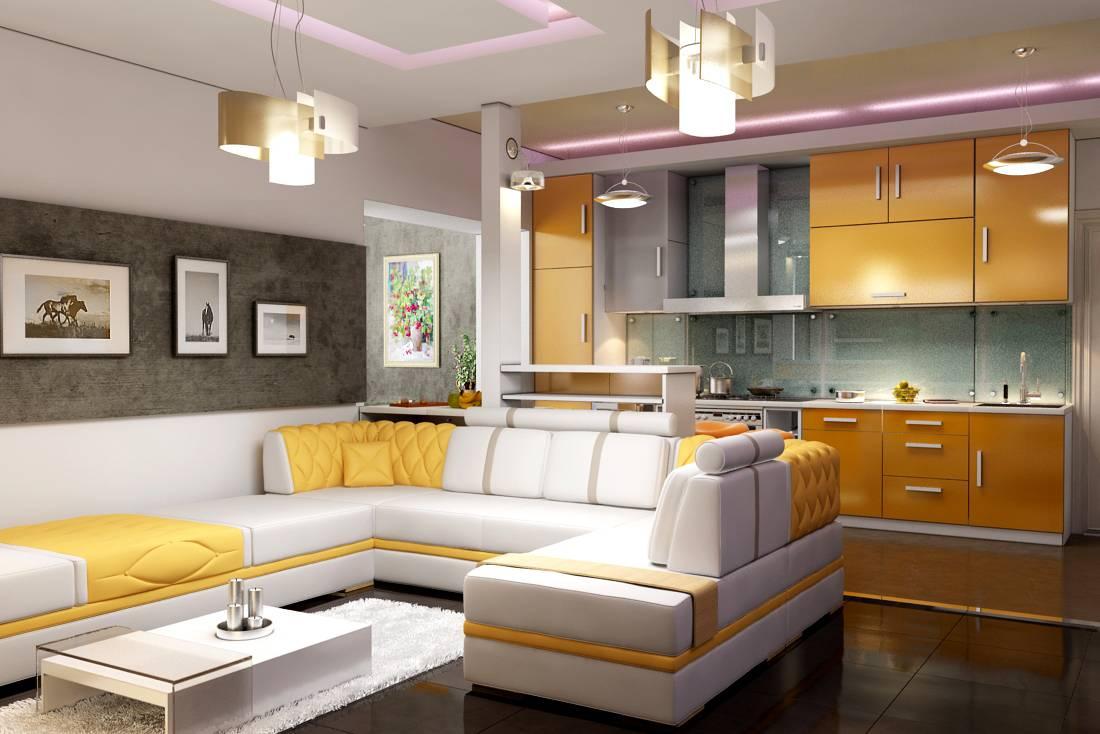 Дизайн гостиной, совмещённый с кухней