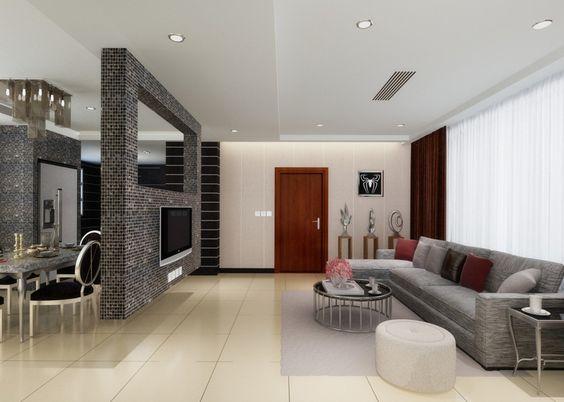 Каменная перегородка для кухни - гостиной