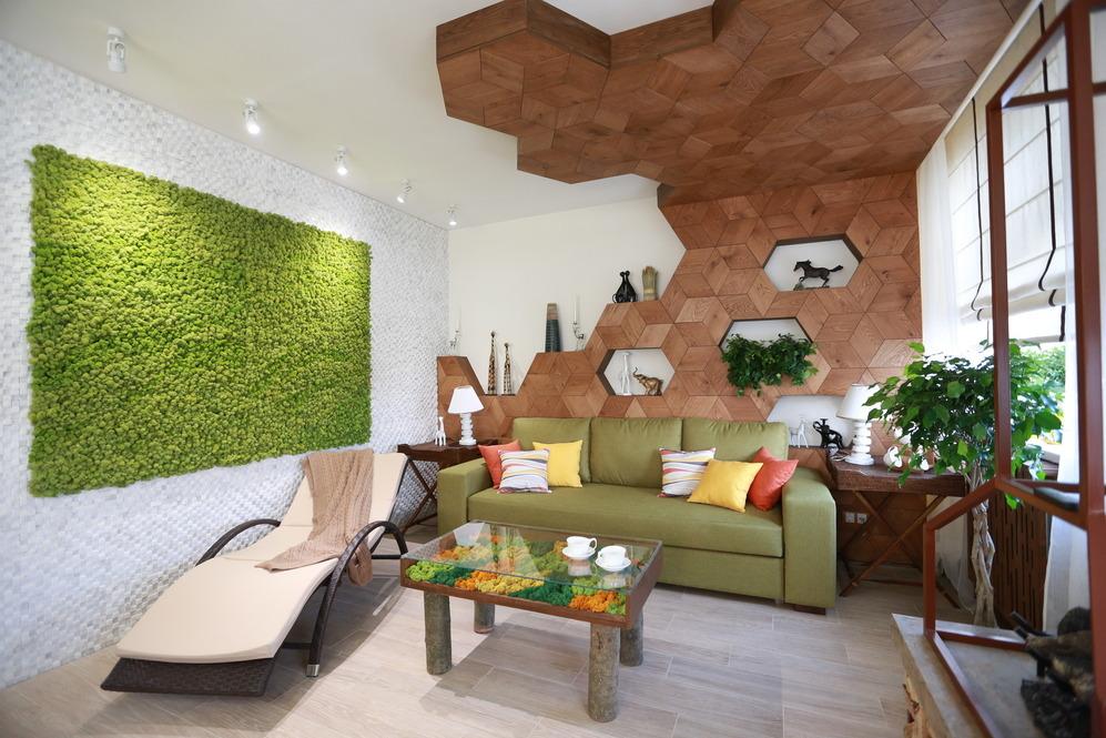 Интерьер гостиной в эко стиле 18 кв м