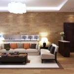elegant modern home interior living room decoration design inspiration in concept with white fabric sectional sofas and cool black polished oak wood storage coffee table below glasses chandeliers plus 938x52