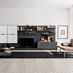 engaging-design-ideas-of-modern-living-room-with-brown-armless-wicker-sofa-and-combine-with-black-plush-carpet-and-low-coffee-table-also-wooden-floor-and-white-wall-mounted-cabinets-also-black-storage