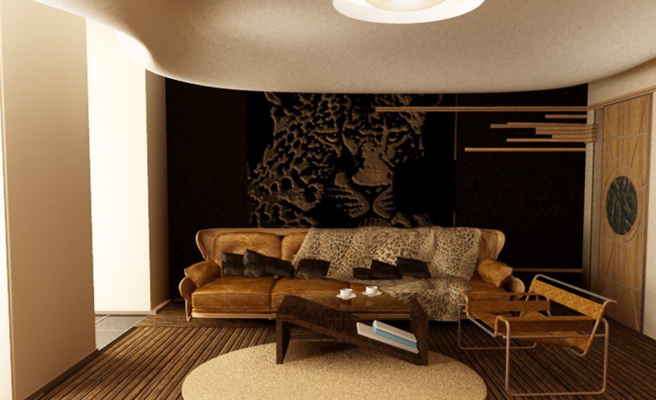 Интерьер гостиной 18 кв м в африканском этно стиле