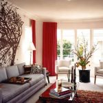fantastic tree wall mural also straight line sofa design and glass coffee table plus awesome red living room curtain
