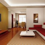 fashionable chinese style minimalist living room design with elegant red beige leather sofa and square glass coffee table using short metal feet on cool square patterned carpet floor with home living 618x375