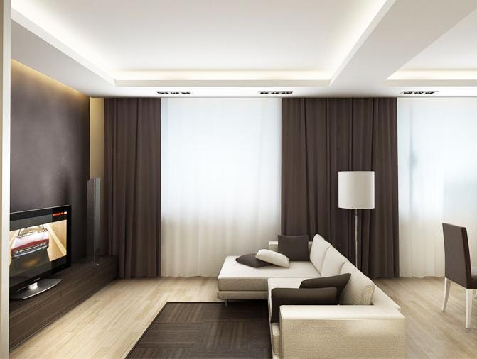 Шторы для гостиной в стиле минимализм без узоров