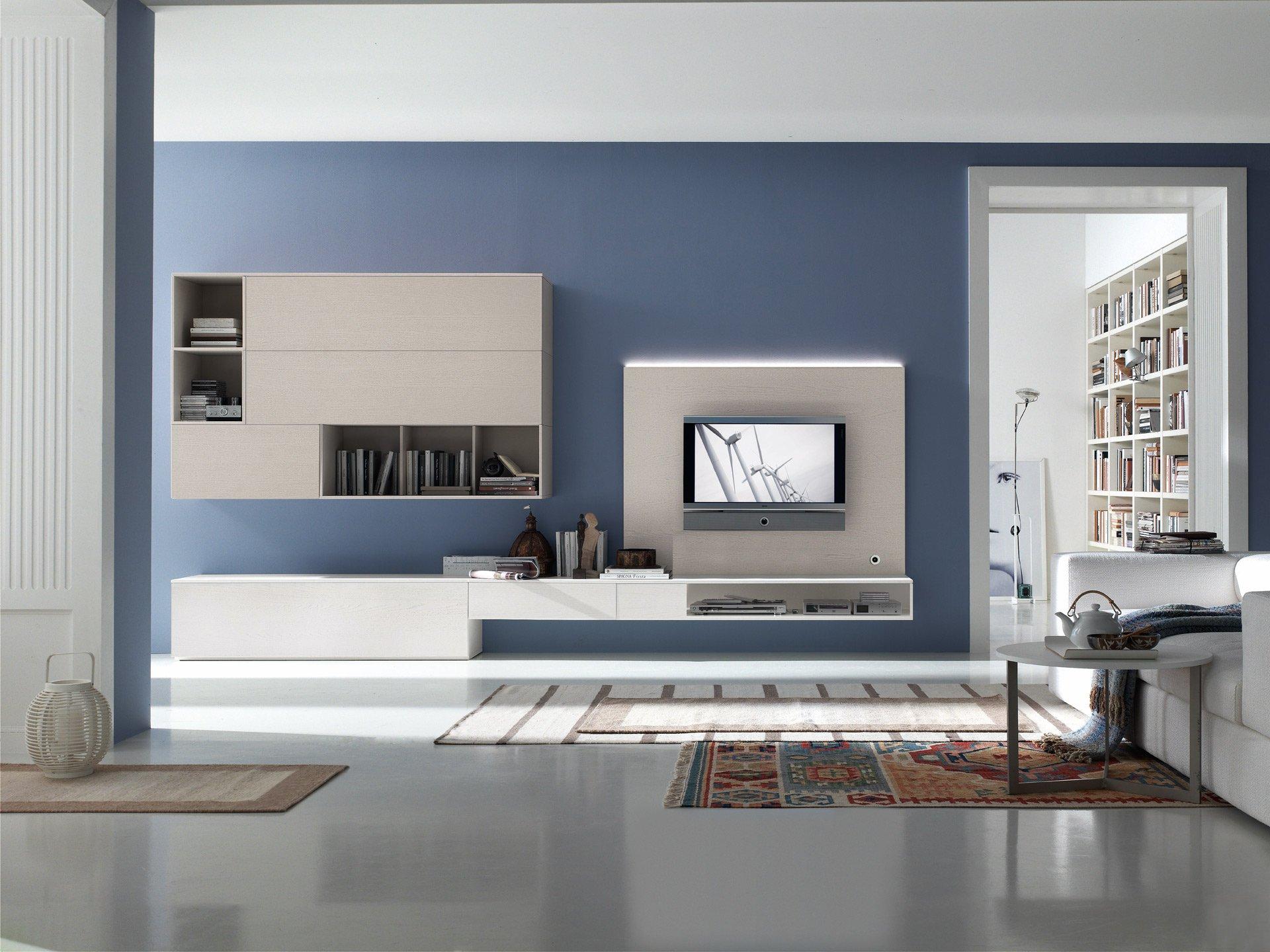 Модульная система в гостиной в стиле хай-тек