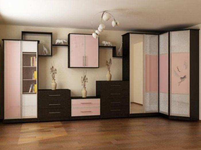 Стенка для гостиной со угловым шкафом для одежды