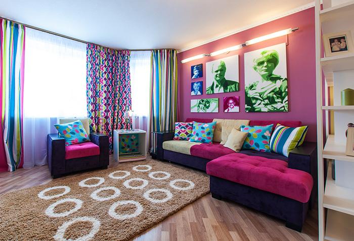 Яркие шторы для гостиной в стиле поп - арт