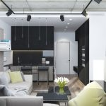 grayscale studio apartment decor