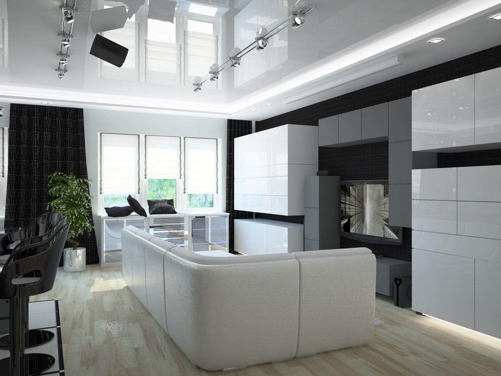 Интерьер гостиной в светлых тонах в стиле хай - тек