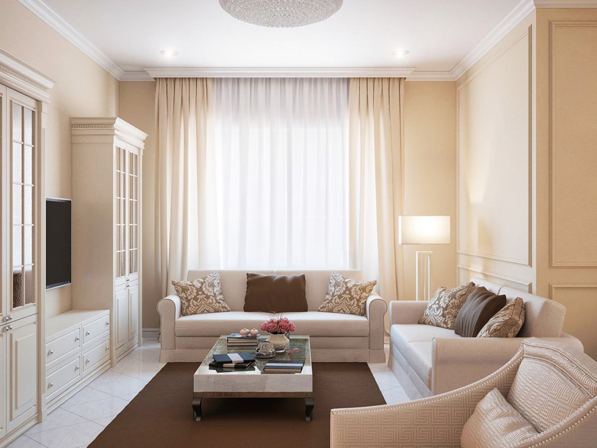 Интерьер для гостиной 18 кв м в классическом стиле минималистичный