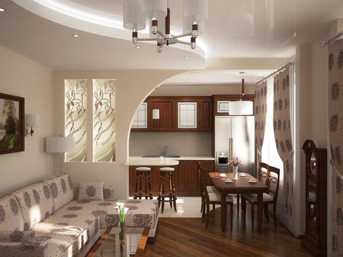 Разделение гостиной, совмещенной с кухней, перегородкой