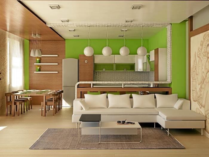 Выделение кухни, совмещенной с гостиной, при помощи цвета