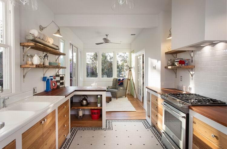 Разделение гостиной и кухни при помощи тумбы