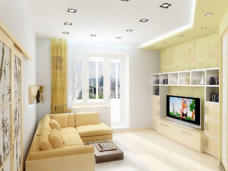 Дизайн проходной гостиной в хрущевке 16 кв.м