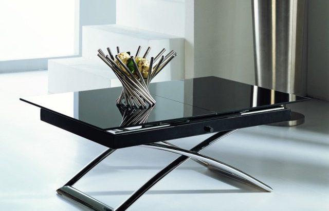 Журнальный столик - трансформер из темного стекла