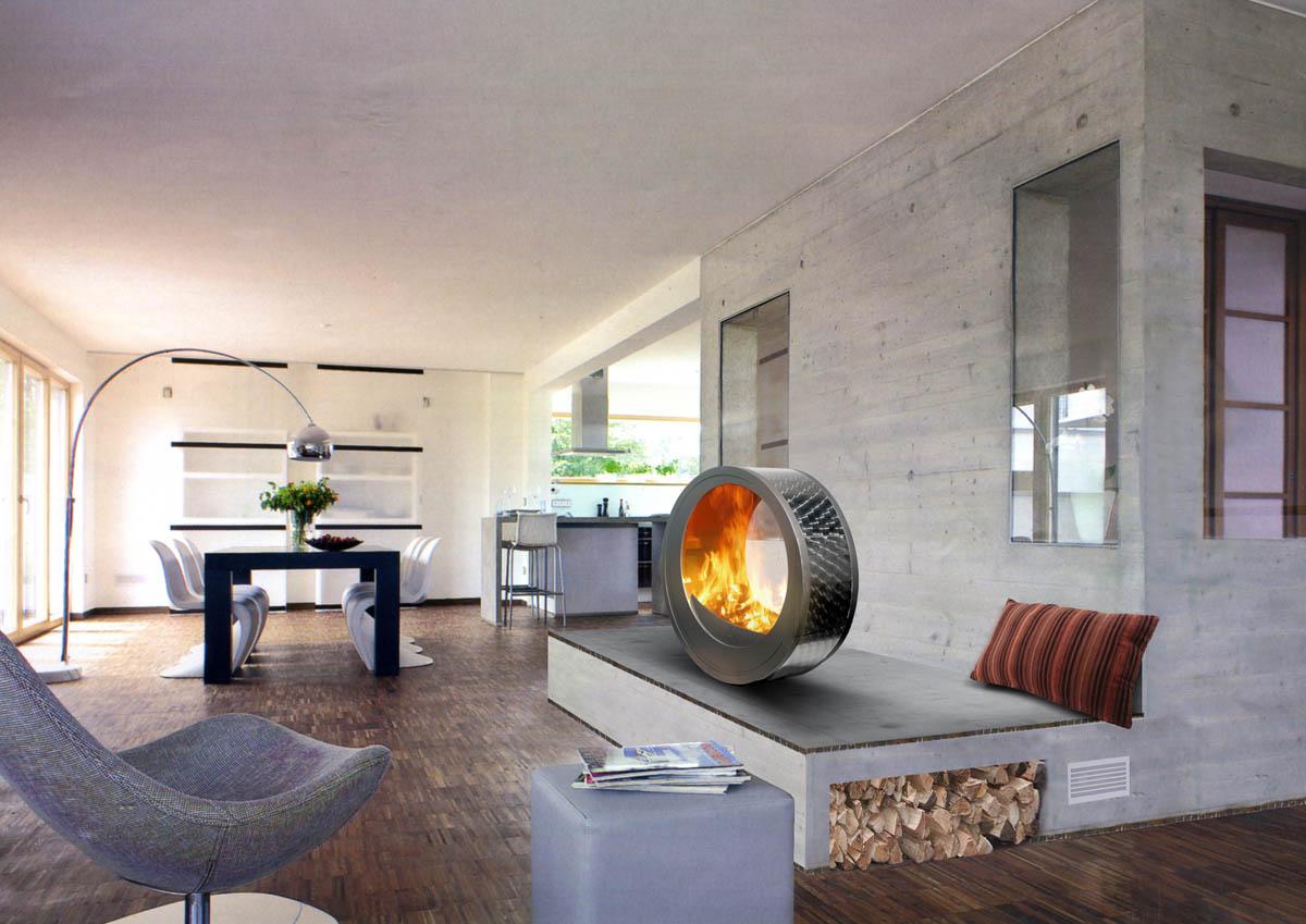 Камин в стиле хай тек в интерьере гостиной