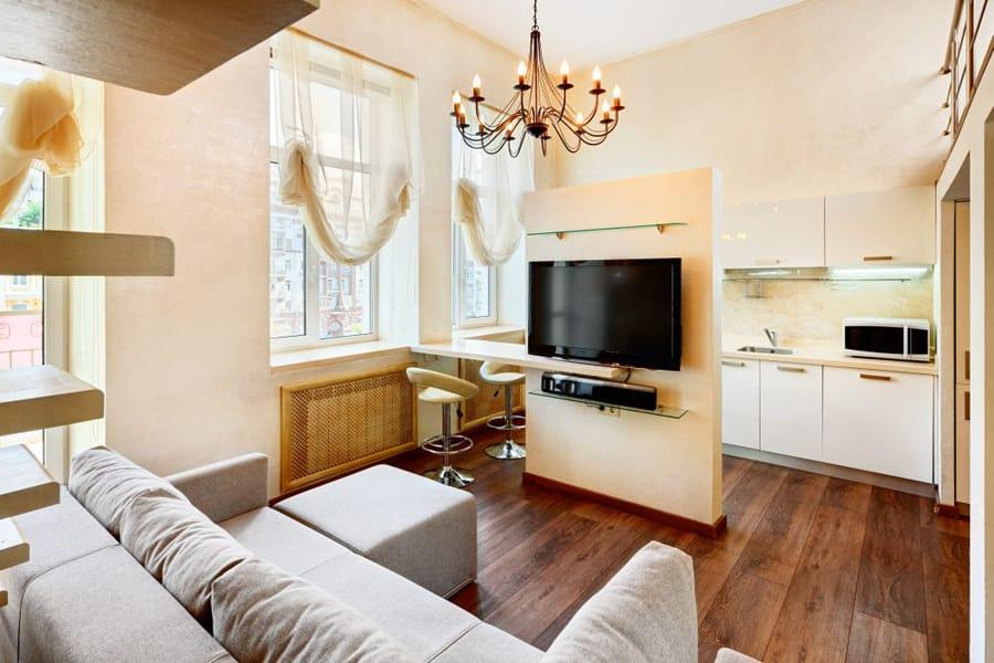 Дизайн и фото кухни совмещенной с гостиной