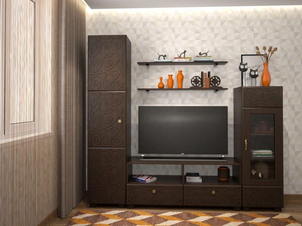 Квадратная модульная стенка для гостиной