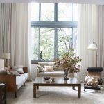 large contemporary cream window curtains with brown wooden living room seating area plus decorative lamp shades