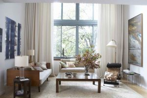 large-contemporary-cream-window-curtains-with-brown-wooden-living-room-seating-area-plus-decorative-lamp-shades