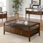 living room modern elegant dark brown polished wooden coffee table with clear glass top and double drawer storage ideas single tier shelving on white area rug and lacquered wood laminate floor as well