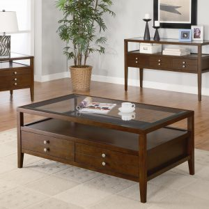 living-room-modern-elegant-dark-brown-polished-wooden-coffee-table-with-clear-glass-top-and-double-drawer-storage-ideas-single-tier-shelving-on-white-area-rug-and-lacquered-wood-laminate-floor-as-well