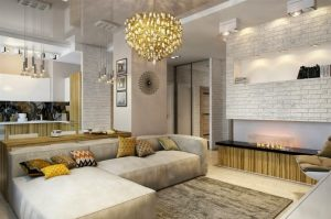 living-room-with-stretch-ceiling-design-small-apartment-with-combined-kitchen-and-living-room
