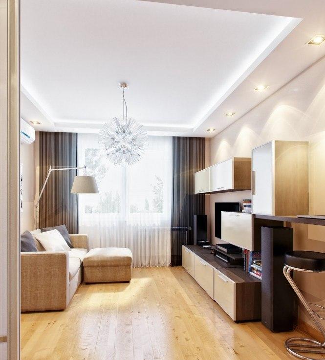 Расположение мебели вдоль стен в гостиной 18 кв м