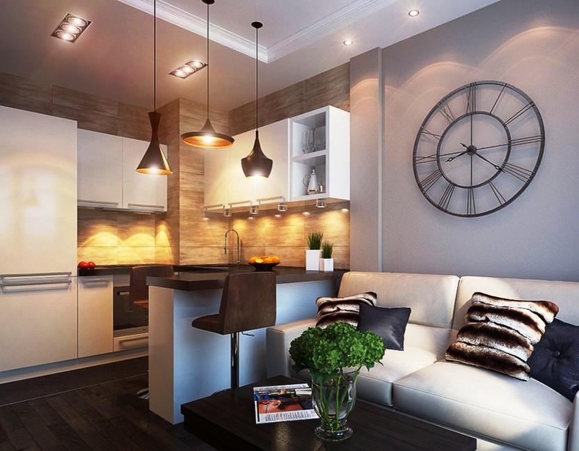 Совмещение гостиной и кухни в комнате 18 кв м